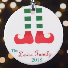 Personalized Green White Stocking Round Porcelain Ornament