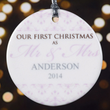 Lavender Floral Personalized Porcelain Ornament