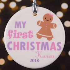 Personalized Lavender Pink Ginger Bread Round Ornament