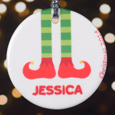 Personalized Christmas Round Porcelain Ornament