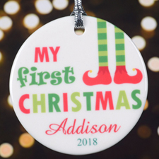 Personalized First Christmas Round Porcelain Ornament