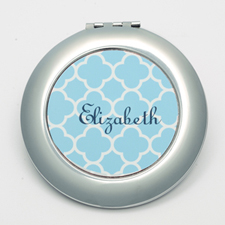 Personalized Blue Quatrefoil Round Make Up Mirror