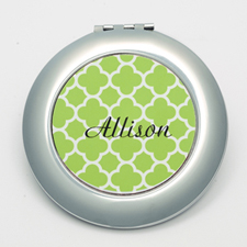 Personalized Lime Quatrefoil Round Make Up Mirror