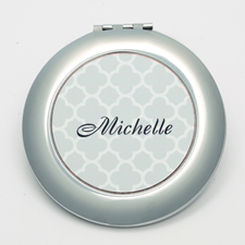 Personalized Grey Quatrefoil Round Make Up Mirror