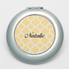 Personalized Orange Quatrefoil Round Make Up Mirror