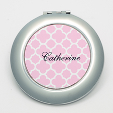 Personalized Pink Quatrefoil Round Make Up Mirror