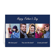 Custom Printed Made For Dad, Classic Blue Greeting Card