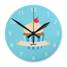 Boy Cupcake Personalized Acrylic Clock Custom Printed