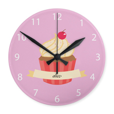 Girl Cupcake Personalized Acrylic Clock Custom Printed