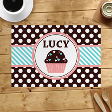 Personalized Love Cupcake Blue Placemats