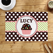Personalized Love Cupcake Lime Placemats