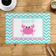 Personalized Chevron Pink Crab Placemats