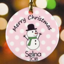 Pink Polka Dot Snowman Personalized Ceramic Ornament
