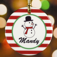 Red Stripe Snowman Personalized Ceramic Ornament