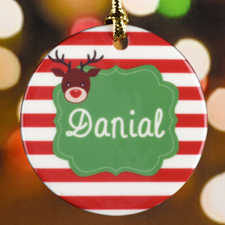 Red Stripe Reindeer Personalized Ceramic Ornament