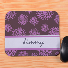 Personalized Lavender Flower Pattern Mouse Pad