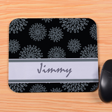Personalized Grey Flower Pattern Mouse Pad