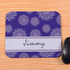 Personalized Purple Flower Pattern Mouse Pad