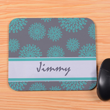 Personalized Turquoise Flower Pattern Mouse Pad