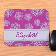 Personalized Fuchsia Flower Pattern Mouse Pad