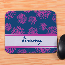 Personalized Blue Flower Pattern Mouse Pad