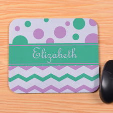 Personalized Green Lavender Chevron & Polka Dot Mouse Pad