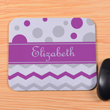 Personalized Purple Grey Chevron & Polka Dot Mouse Pad