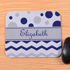 Personalized Navy Grey Chevron & Polka Dot Mouse Pad