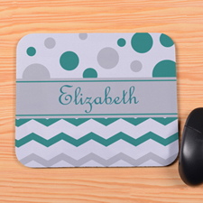 Personalized Green Grey Chevron & Polka Dot Mouse Pad