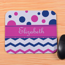 Personalized Navy Fuchsia Chevron & Polka Dot Mouse Pad
