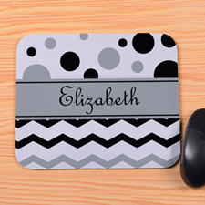 Personalized Black White Chevron & Polka Dot Mouse Pad