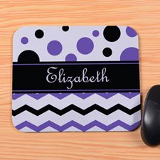 Personalized Black Purple Chevron & Polka Dot Mouse Pad