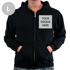 Custom Imprint Full Color Zippered Hoodie, Large Black