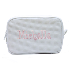 Embroidered Name White Cotton Waffle Weave Makeup Bag (5 X 8 Inch)