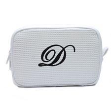 Embroidered One Initial White Cotton Waffle Weave Makeup Bag