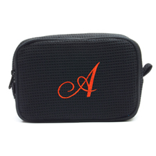 Embroidered One Initial Black Cotton Waffle Weave Makeup Bag (5 X 8 Inch)