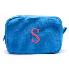 Embroidered One Initial Turquoise Cotton Waffle Weave Makeup Bag
