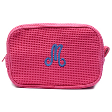 Embroidered One Initial Fuchsia Cotton Waffle Weave Makeup Bag