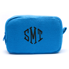 Embroidered Three Initial Turquoise Cotton Waffle Weave Makeup Bag (5 X 8 Inch)