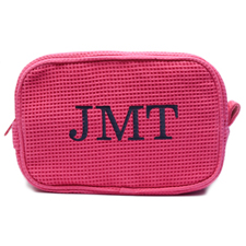 Embroidered Three Initial Fuchsia Cotton Waffle Weave Makeup Bag (5 X 8 Inch)
