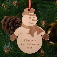 Frozen Snowman Personalized Wood Ornament