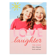 Love & Laughter Personalized Photo Valentine Card, 5X7 Flat