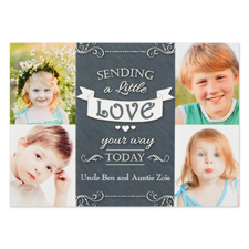 Sending Love Personalized Photo Valentine Card, 5X7 Flat