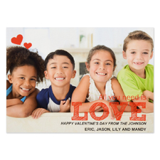 Heart Moments Personalized Photo Valentine Card, 5X7 Flat
