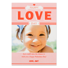 Happy Love Day Personalized Photo Valentine Card, 5X7 Flat