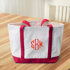 Monogrammed Personalized Red Canvas Tote Bag (Medium)