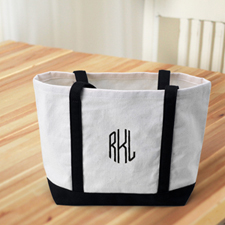 Monogrammed Personalized Black Canvas Tote Bag (Medium)
