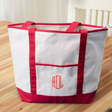 3 Initials Large Embroidered Canvas Tote Bag, Red
