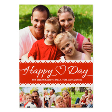 Happy Heart Day Personalized Photo Valentine Card, 5X7 Flat