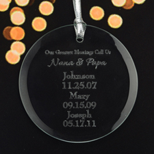 Personalized Engraving Our Greatest Blessing Round Glass Ornament